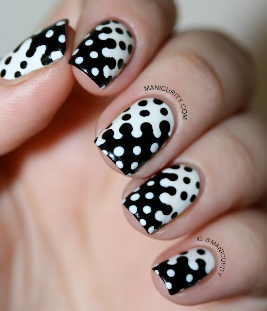 Manicurity | The Digit-al Dozen Does Black & White: Groovy Interlocking Dot Nail Art with Cult Nails Tempest and Nevermore