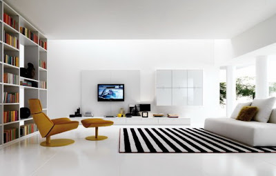 The Large Black And White Stripes Area Rug Makes A Bold Statement And  Grounds This All White Living Room.