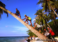 naik kelapa miring pantai tanjung gelam karimun jawa