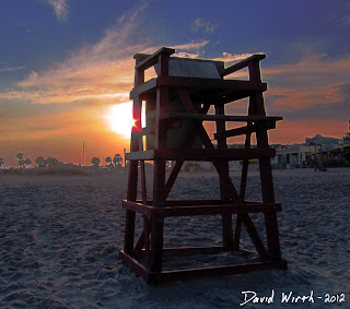 life guard tower at sunet, beach, ocean, florida