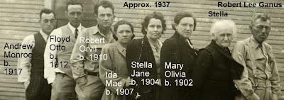 Robert Lee Ganus, Stella Mae Montgomery, Mary Olivia Ganus, Stella Jane Ganus, Ida Mae Ganus, Robert Orvil Ganus, Floyd Otto Ganus, Andrew Monroe Ganus