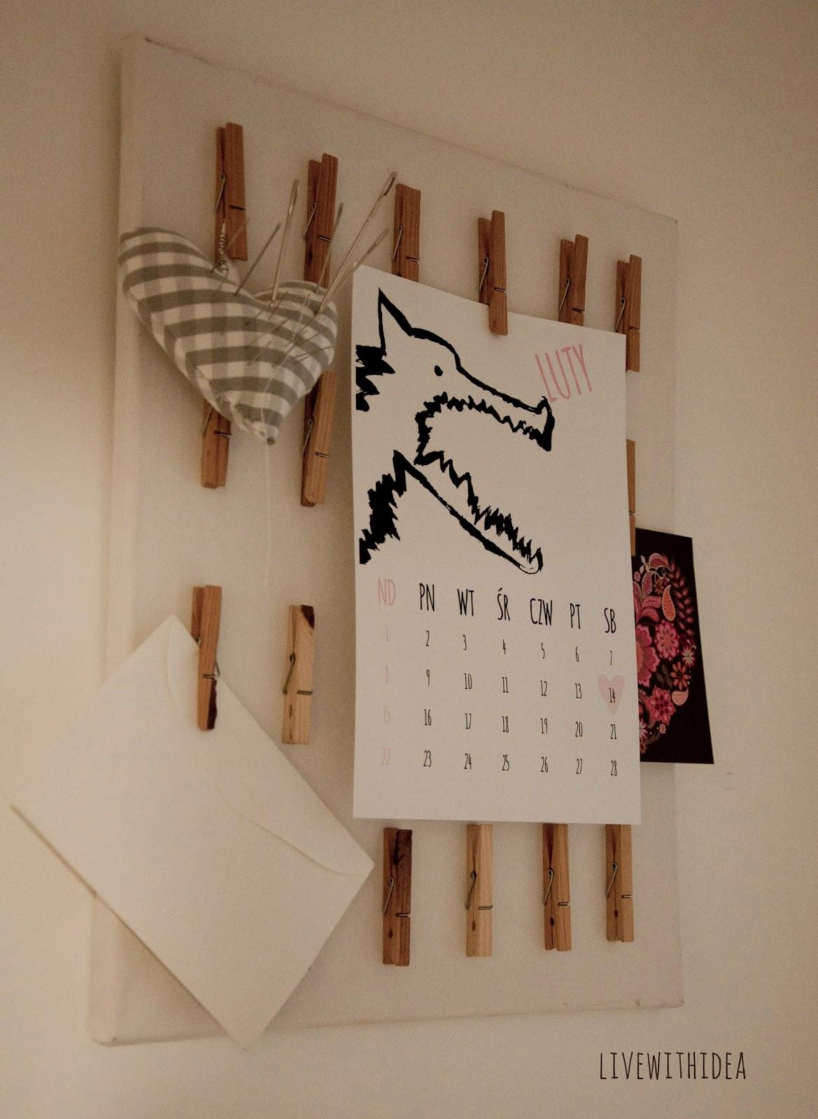 rachunki tablica poczta wilk kalendarz