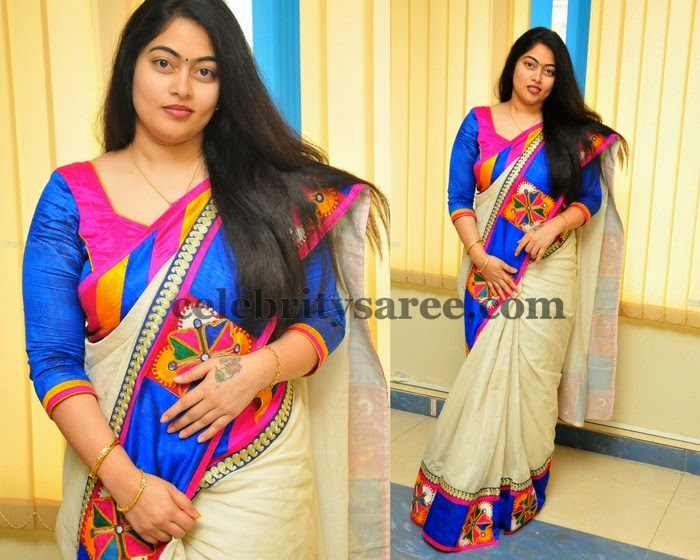 Cream Mirror Patch Saree
