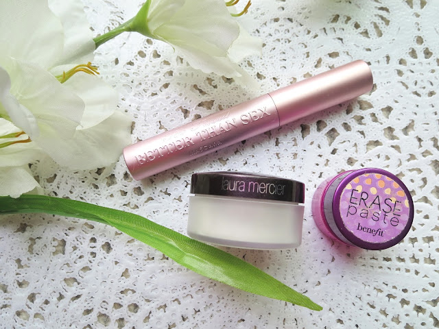 a picture of Most Repurchased Makeup Products ; Better Than Sex Mascara, Benefit Erase Paste, Laure Mercier Secret Brightening Powder