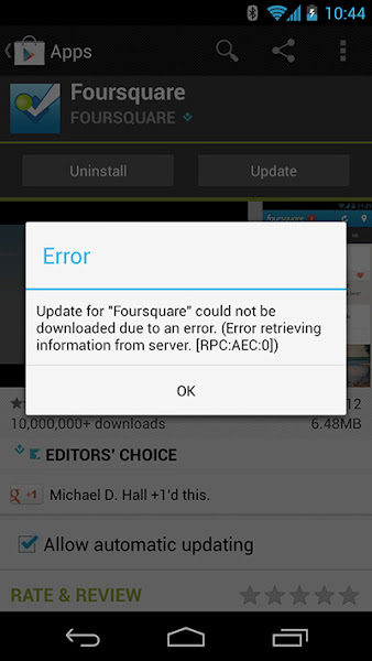 Fixing an Android Error Message - Error retrieving information from server