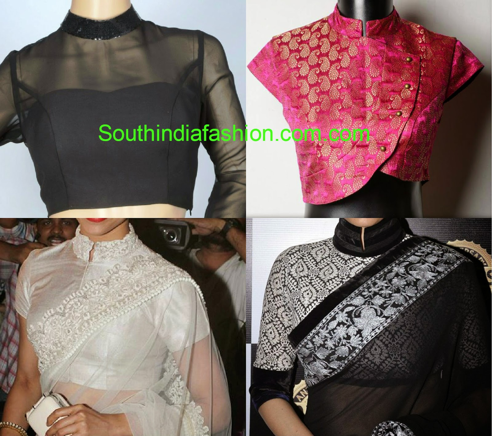 stand collar neck saree blouse designs 2015
