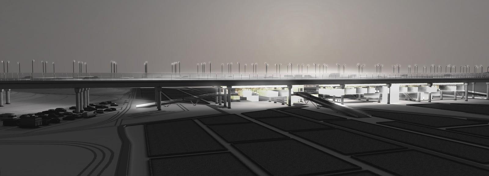 RENDERS 3D PFC - Vista 3D Nocturna del Mercado de Productos Orgánicos para el PFC de un alumno de la UEM - ETSAM UEM UCJC ESAYT USPCEU USP CEU IE UAX UAH UPM ETSA