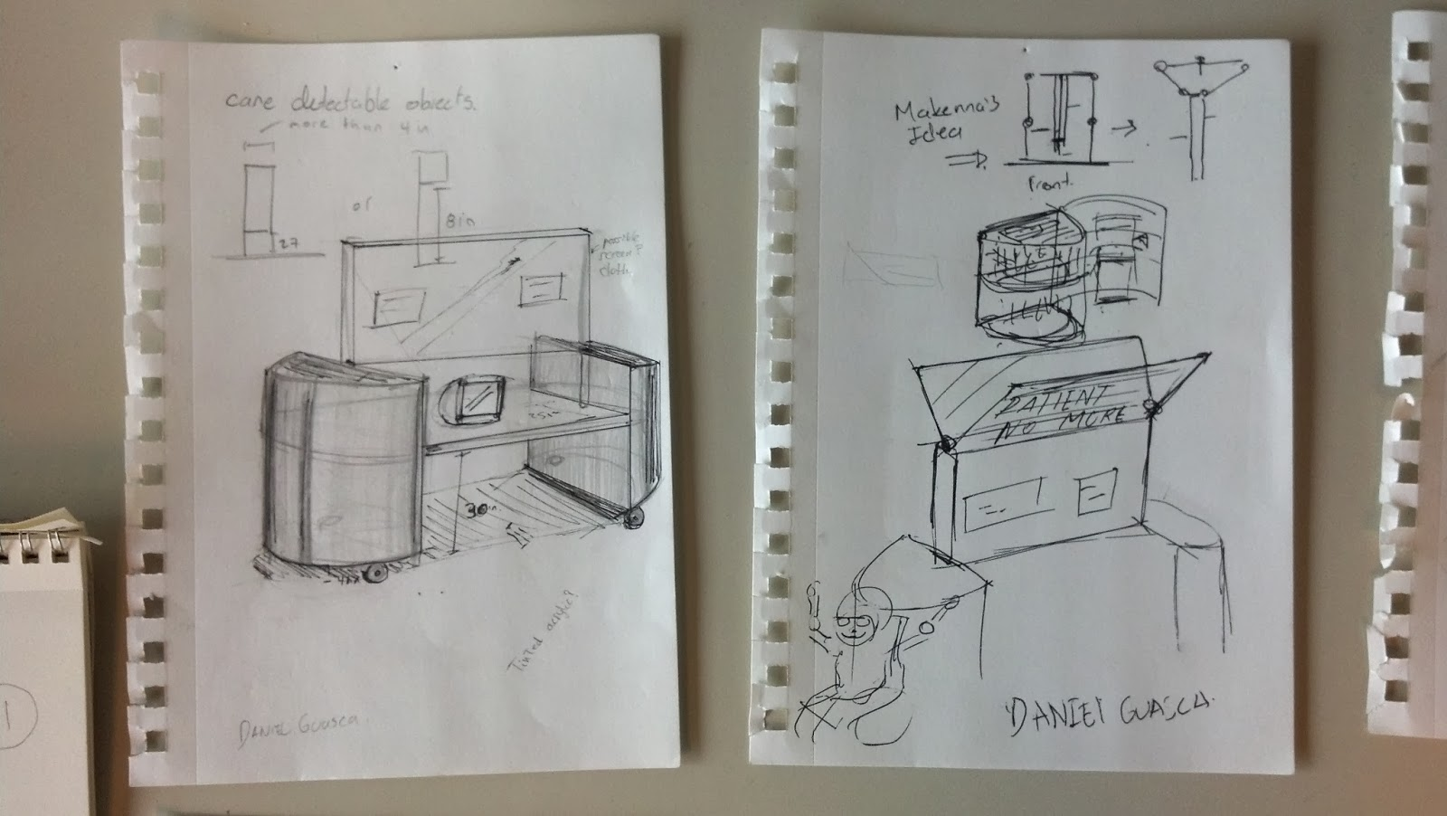 Image shows two pages pinned to a wall. Within them are sketch ideations of exhibit display concepts. Features are also included such as angled top panels for people viewing from below and door concepts for the side sections of the exhibit display.