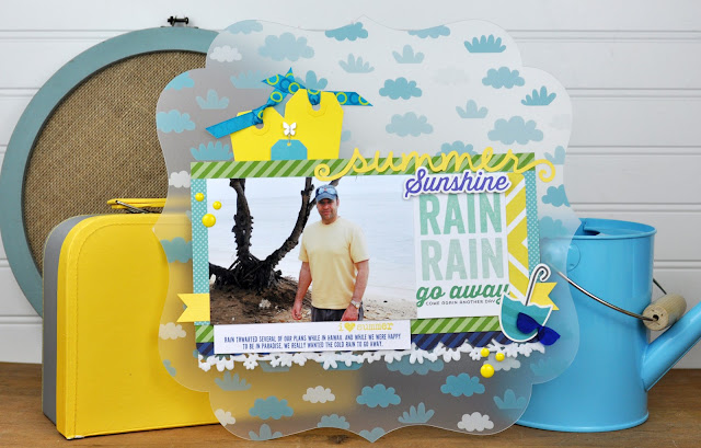"""Rain Rain"" layout designed by Jen Gallacher for SCT Magazine. Includes video. More info here:  http://jengallacher.blogspot.com/2015/09/3-scrapbooking-kit-videos-crop-create.html"