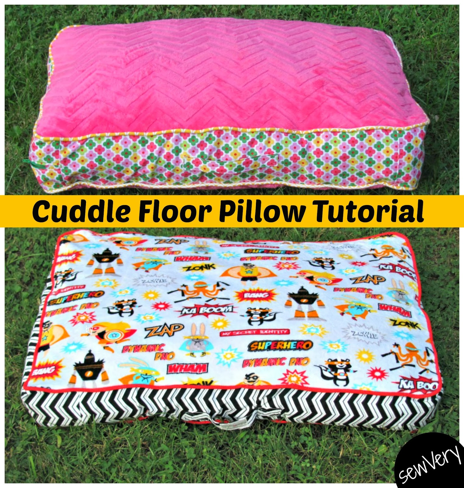 sewVery: Cuddle Floor Pillow Tutorial and Matching Blankets