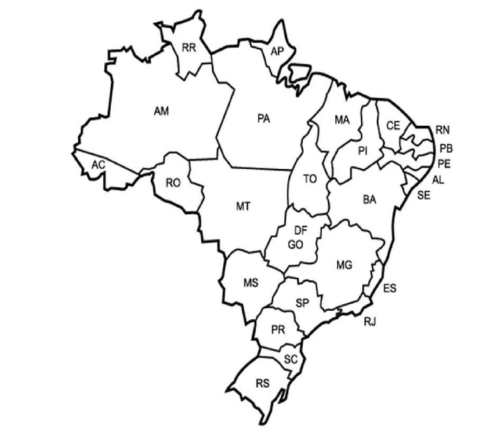 desenho do mapa do brasil com estados e capitais