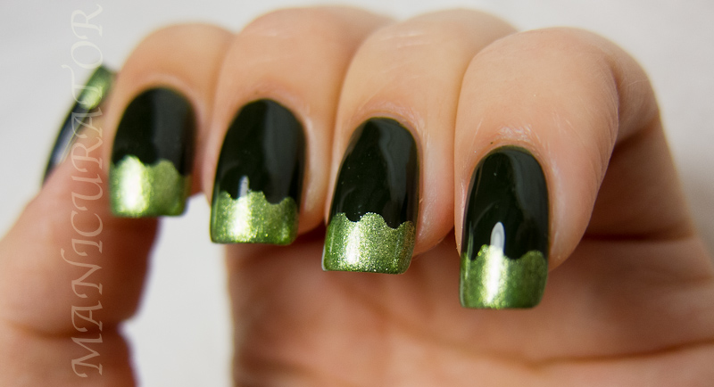 Manicurator 31dc Day 4 Green Funky French Tips Nail Art
