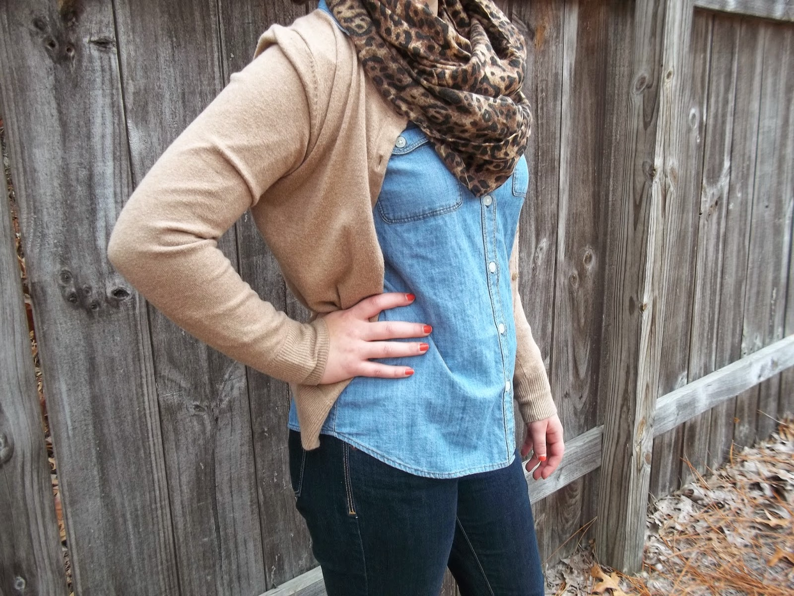 Leopard scarf, chambray shirt, jeans, tan cardigan, brown boots