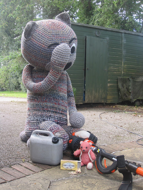 Fiddly Fingers large crochet cat Chester Taffy crochet bear busy mending hedge trimmer