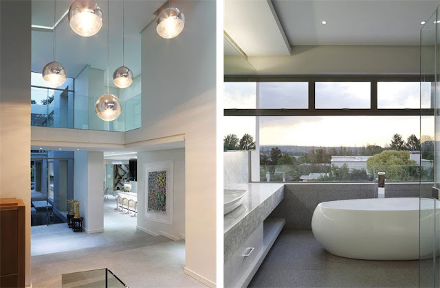 Hallway and modern bathroom in Modern Luxury House In Johannesburg