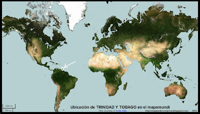 El Mundo. Ubicacion de TRINIDAD Y TOBAGO en el mapamundi, OpenStreetMap