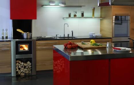 Cozinhas modernas com fogão a lenha