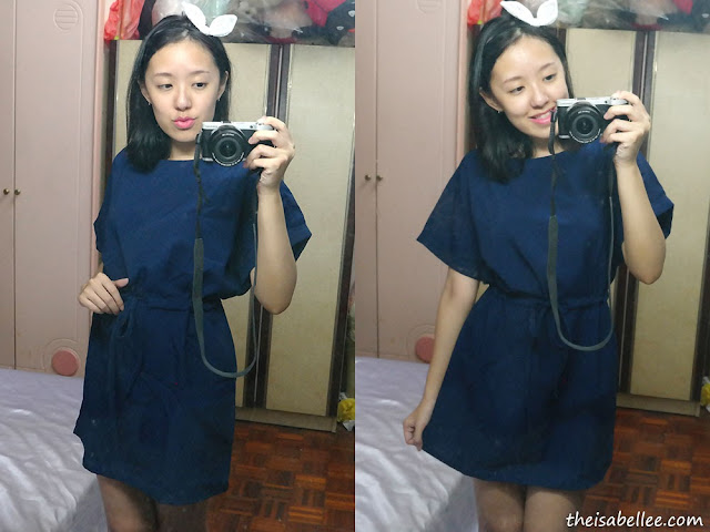 Blue dress with drawstring