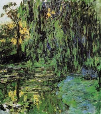 Water Lily Pond and Weeping Willow by Claude Monet, www.thebrighterwriter.blogspot.com