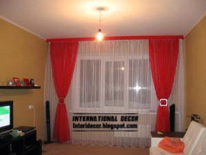 red and white curtain contemporary design