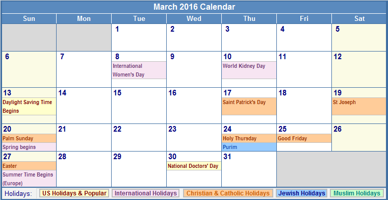 March 2016 US Calendar with Holidays for printing (image format)
