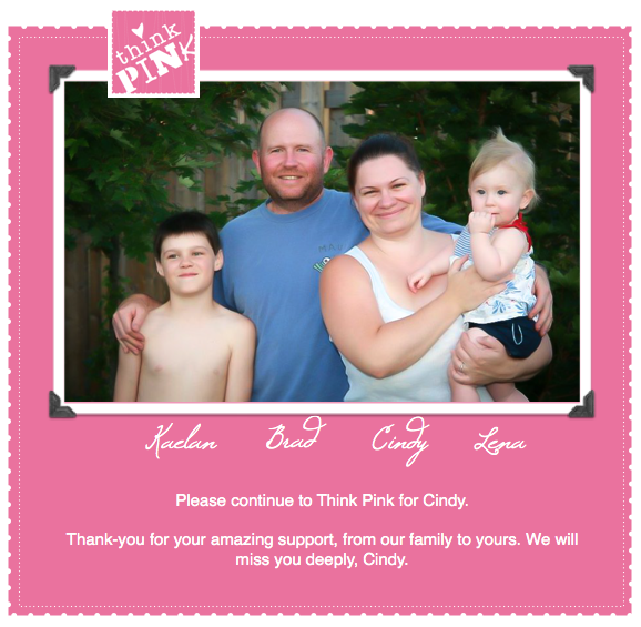 k Pink for Cindy. A landing place to keep updated on a cancer victim's story.