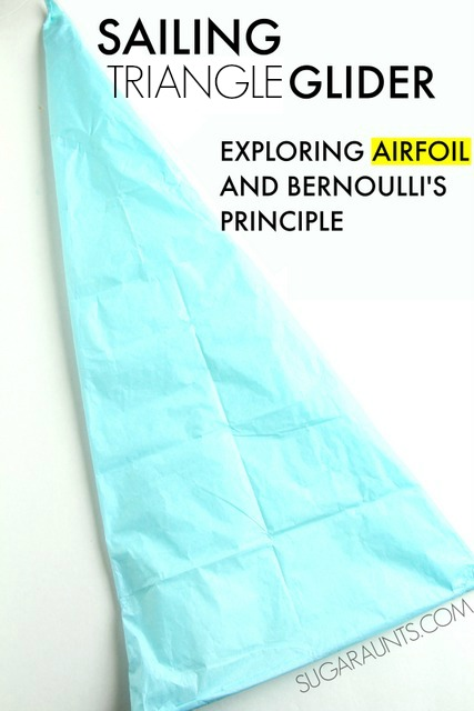 "how to make a delta sale glider from tissue paper. This is a fun glider activity for kids to explain airfoil and Bernoulli's Principle as well as answer the question: ""why do airplanes stay in the sky?"""