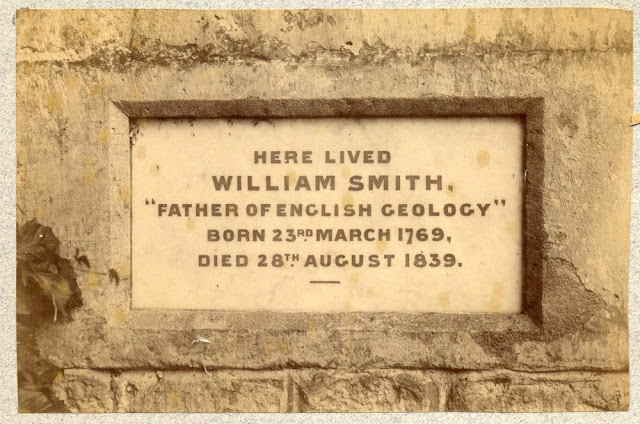 "Here lived William Smith "" Father of English Geology"" Born 23rd March 1769, Died 28th August 1839. Plaque on wall at Tucking Mill, Somerset."