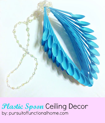 Plastic Spoon Ceiling Decor. Torqouise color. recycling spoon project