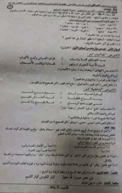 تجميع امتحانات اللغة العربية سادس ابتدائي ترم ثاني 2015 لجميع الادارات التعليمية في جميع محافظات مصر 11225783_483593835125289_1269666471_n