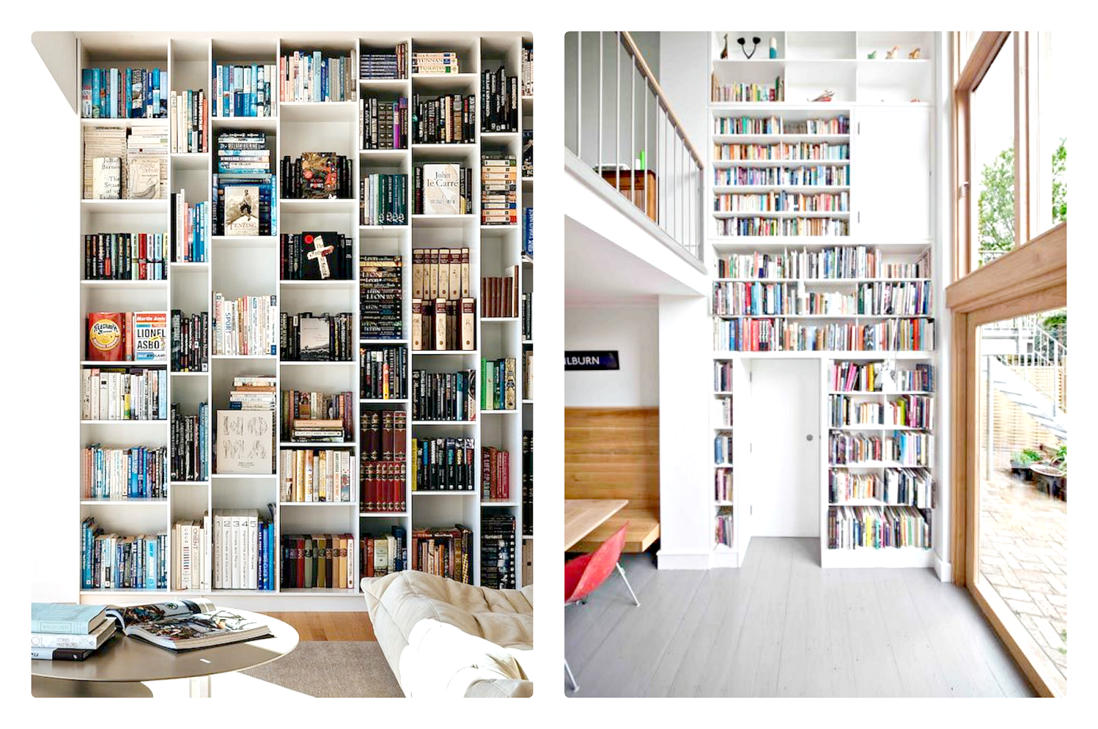 many bookshelves