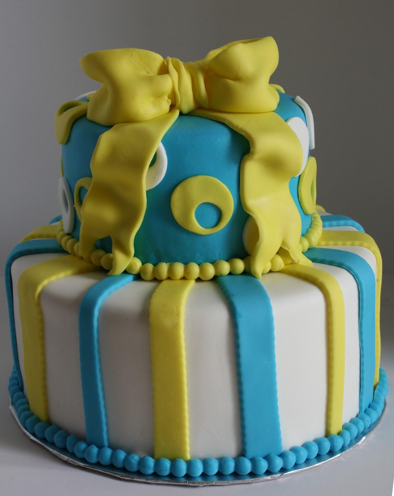 Sab Cakes Yellow And Blue Bow Babyshower Cake