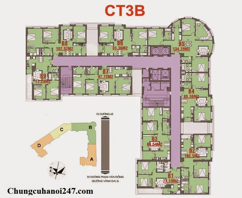 Mặt bằng chi tiết thiết kế kiến trúc chung cư CT3B Cổ Nhuế Hoàng Quốc Việt Residentials