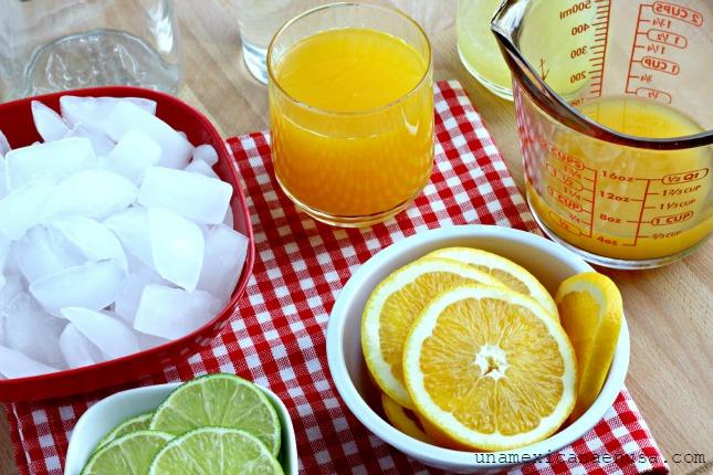 Ingredientes para preparar refresco de mandarina.