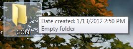 creating a CON folder