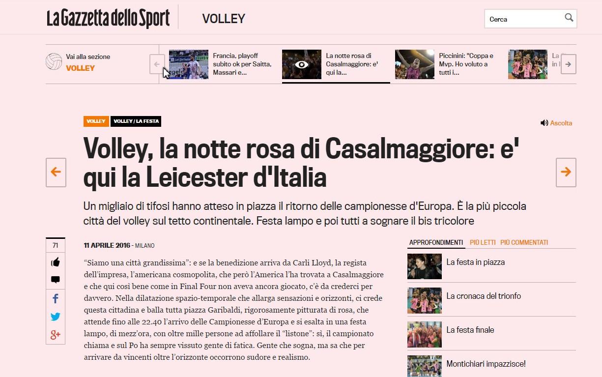 REVISTA PRESEI: Casalmaggiore, un Leicester al Italiei