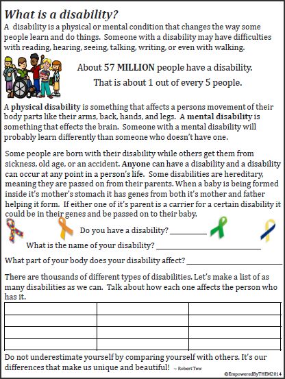 age and disability worksheet