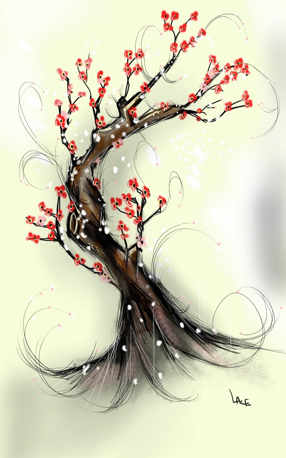 Draw something art cerisier - Dessin arbre japonais ...