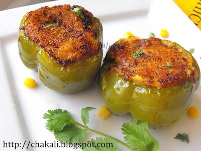 stuffed capsicum, stuffed bell peppers, bharli bhopli mirchi