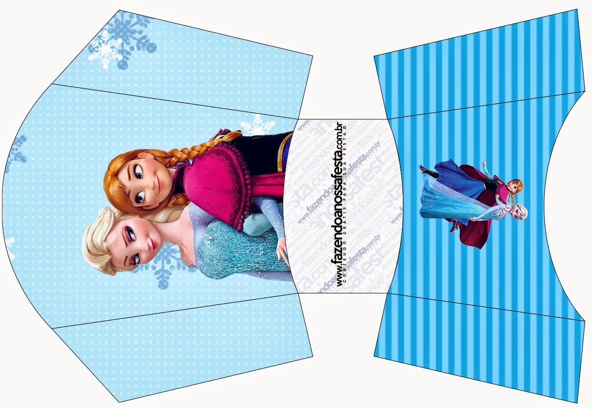frozen en navidad azul cajas para imprimir gratis