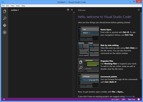 Visual Studio Code Main Screen