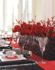 Christmas centerpiece red flowers berries