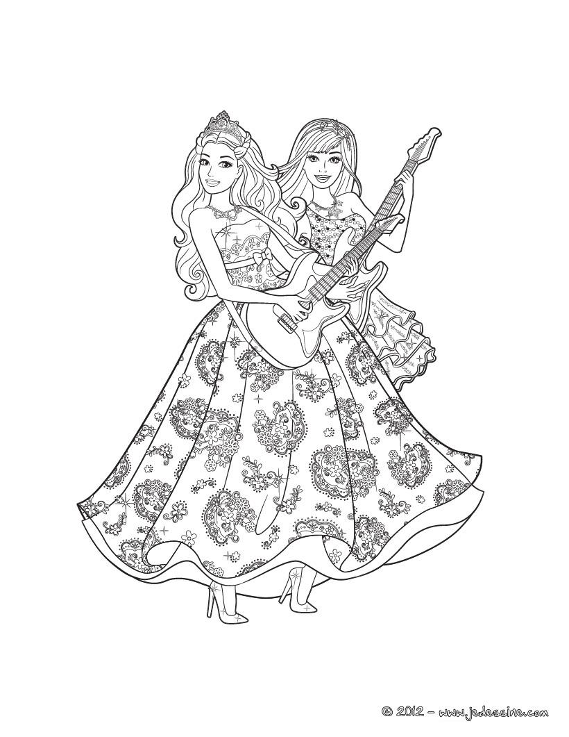 Barbie en la Princesa y la Cantante Nuevas paginas para colorear