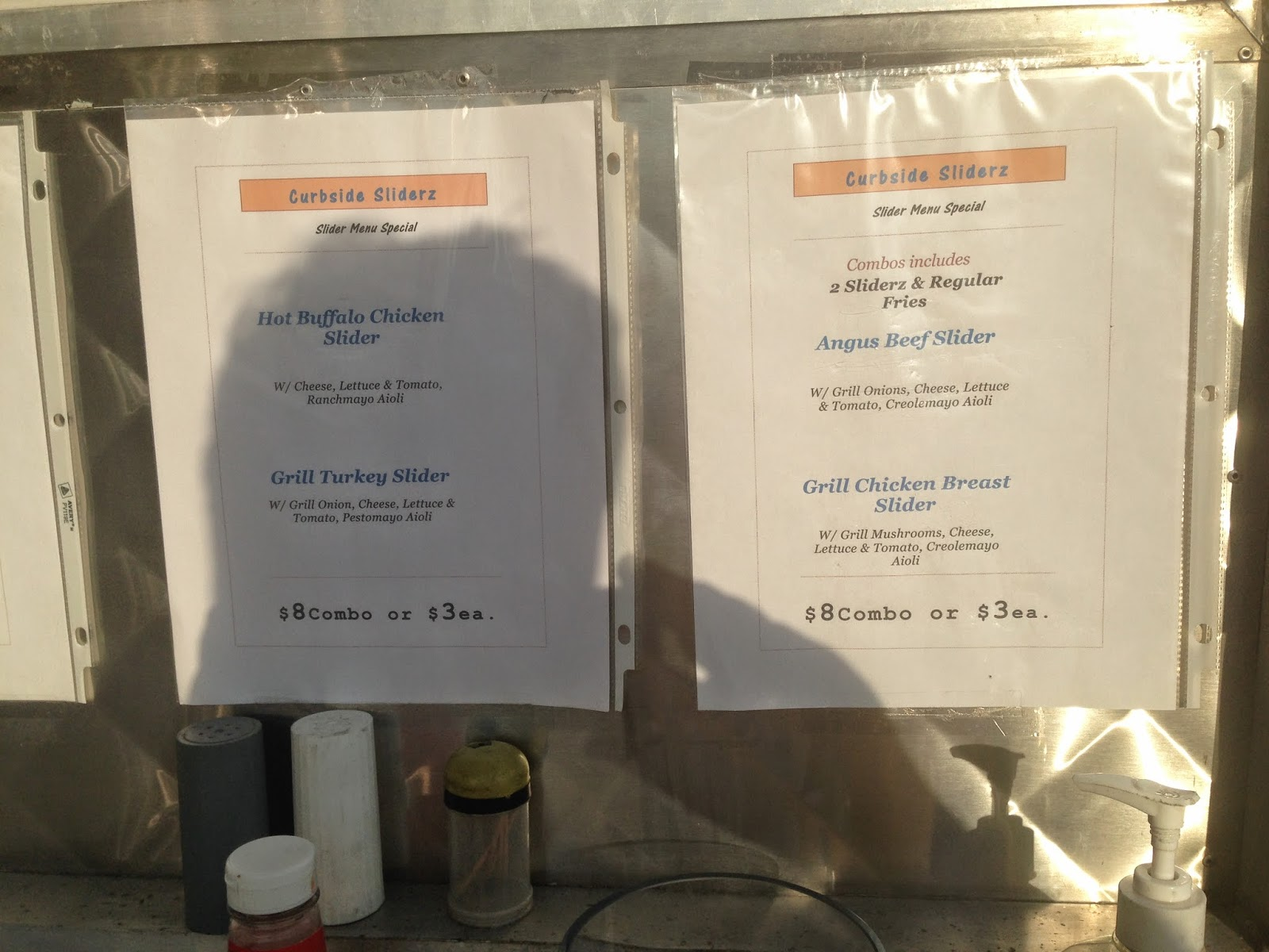 Curbside Sliderz Food Truck Menu