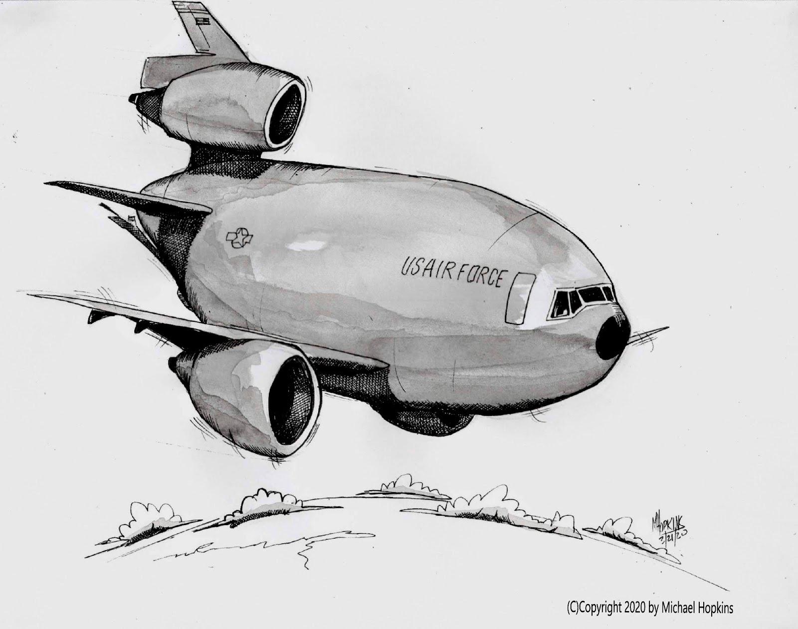 USAF KC-10 - Original Pen & Ink Aviation Caricature by Michael Hopkins on Ebay!