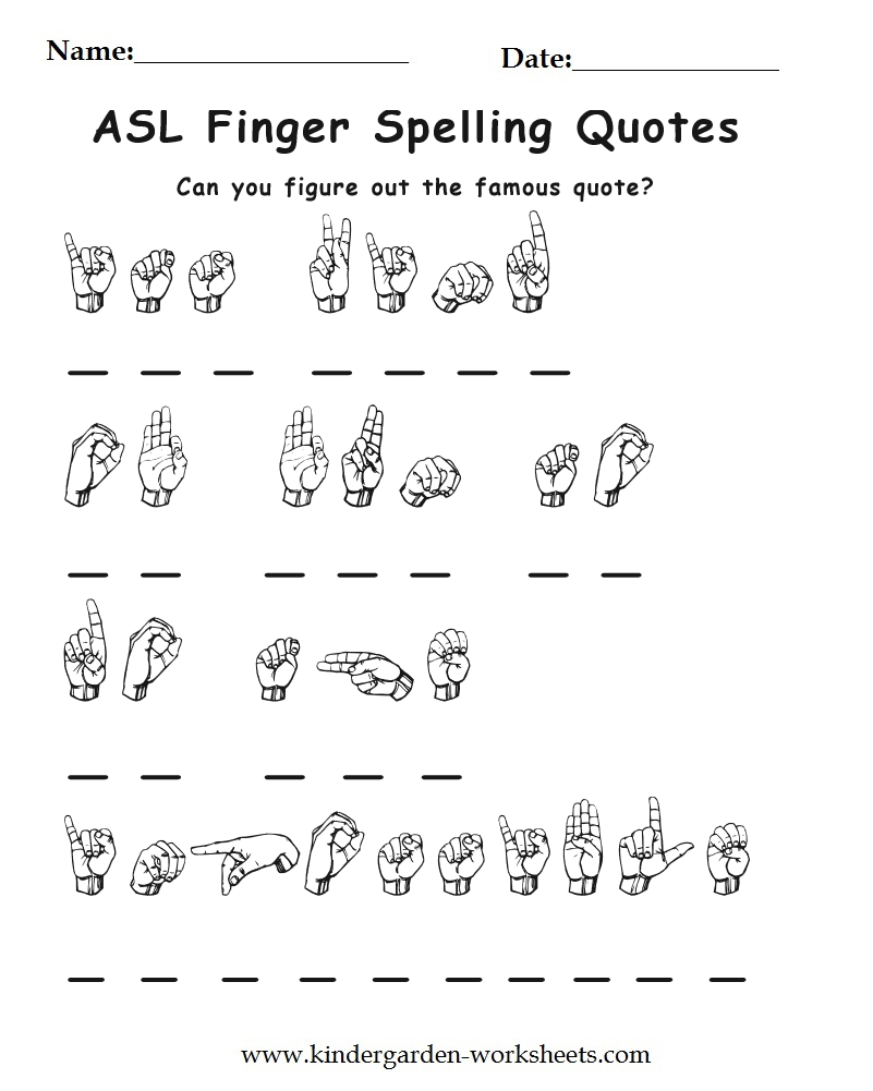 kindergarten worksheets worksheets sign language