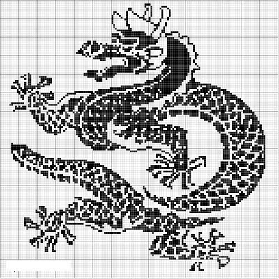 Филейное вязание.  Схемы Драконов.