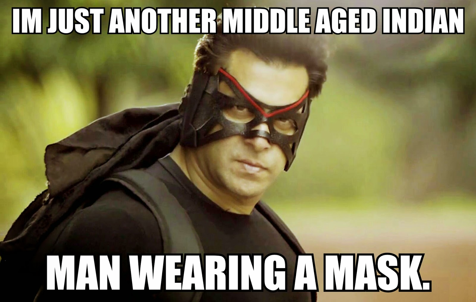 Salman Khan Superhero Kick Mask Black Bollywood Meme Funny