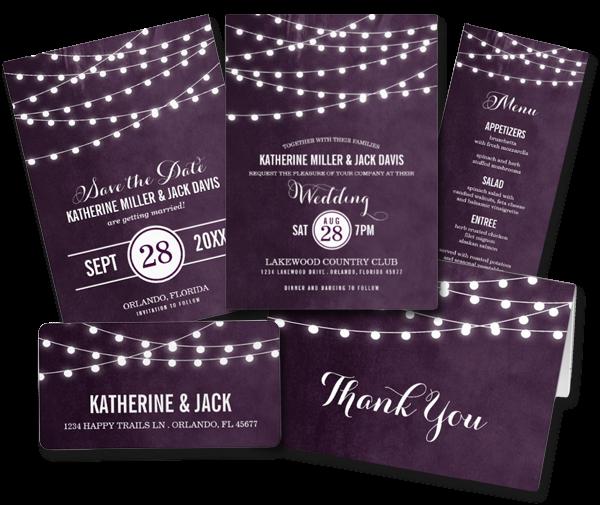 String Lights Wedding Invitation : Wedding Cards and Gifts: Summer String Lights Wedding Invitation