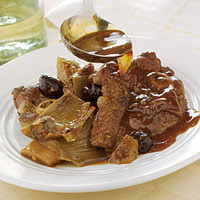 Braised Lamb Chops with Black Olives & Artichokes